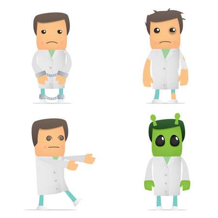 medicate: set of funny cartoon doctor