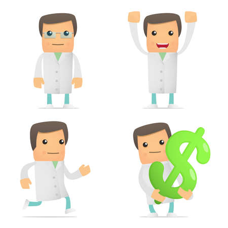 set of funny cartoon doctor Stock Vector - 9463283