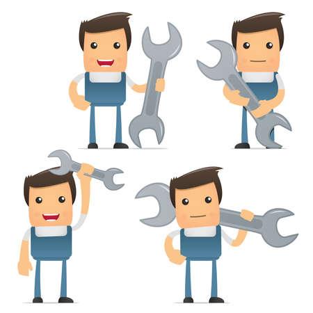 helpers: set of funny cartoon mechanic