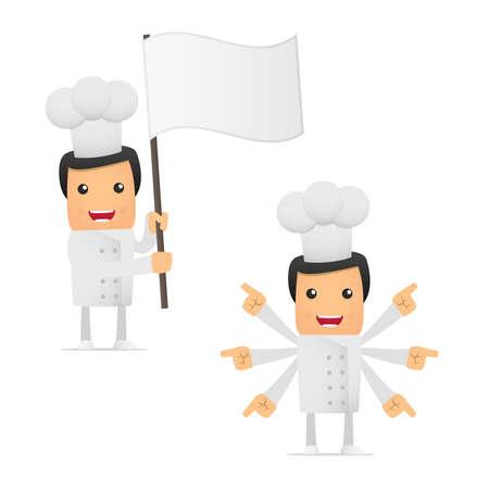 set of funny cartoon chef Vector