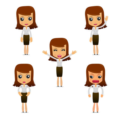 set of funny cartoon businesswoman Stock Vector - 9646521