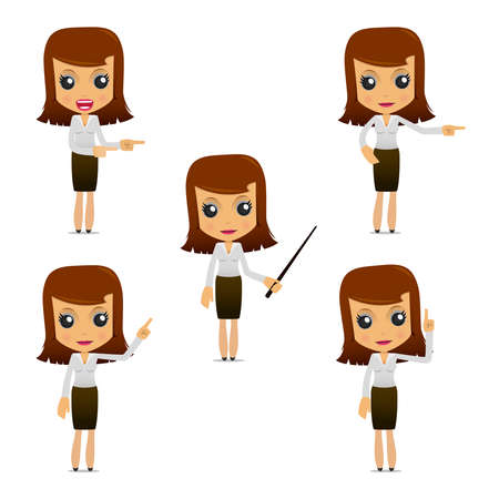 character set: set of funny cartoon businesswoman