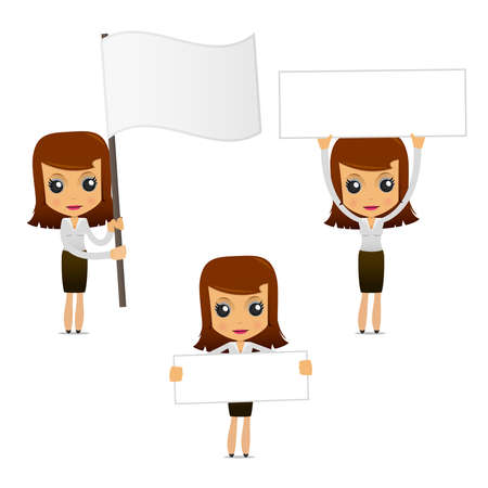 set of funny cartoon businesswoman Stock Vector - 9646516