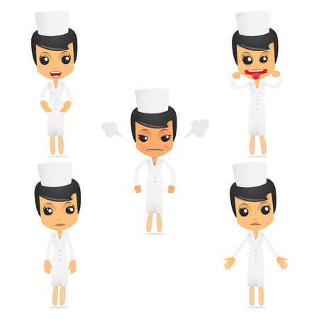 set of funny cartoon nurse Vector