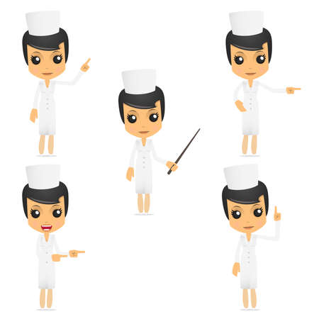 practitioner: set of funny cartoon nurse