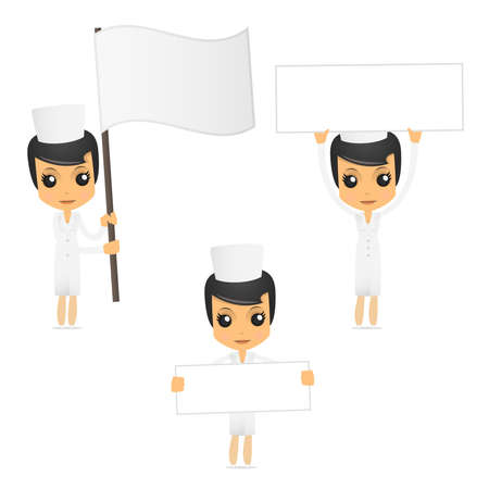 nursing uniforms: set of funny cartoon nurse