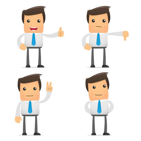 set of funny cartoon manager Stock Vector - 9847896
