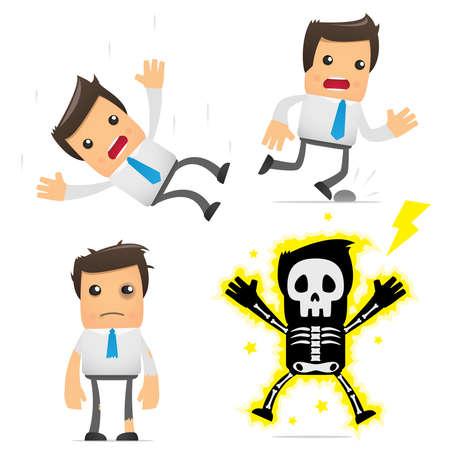 dolore ai piedi: set di dirigente cartone animato divertente Vettoriali