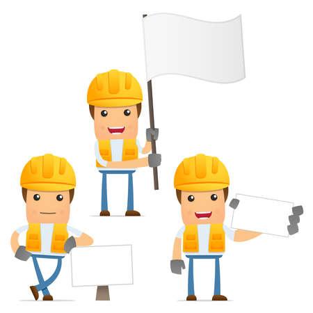 karikatuur: set van grappige cartoon bouwer