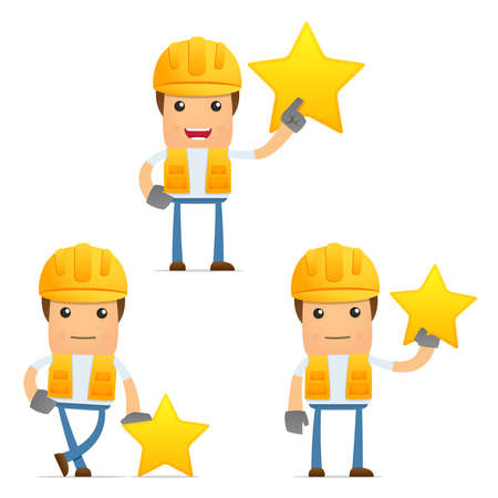 manual worker: set of funny cartoon builder Illustration