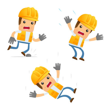 dangerous construction: set of funny cartoon builder Illustration