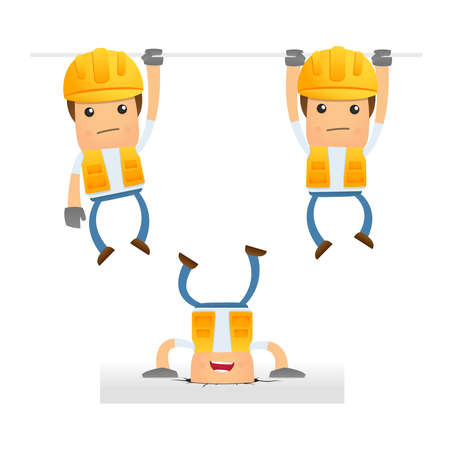 health and safety: set of funny cartoon builder Illustration