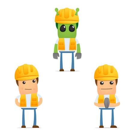 obrero: conjunto de generador de caricatura divertida Vectores