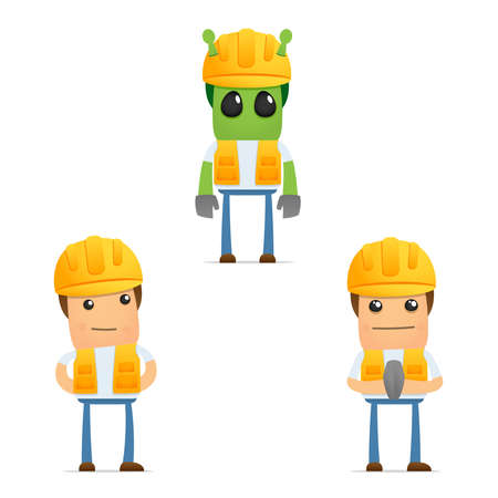 labourer: set of funny cartoon builder Illustration