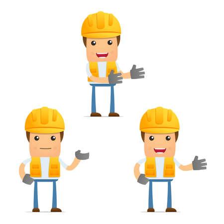 set of funny cartoon builder Vector