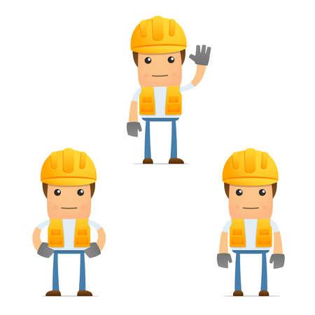obrero: conjunto de generador de dibujos animados divertidos Vectores