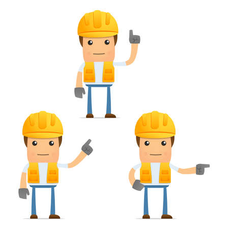construction helmet: set of funny cartoon builder Illustration