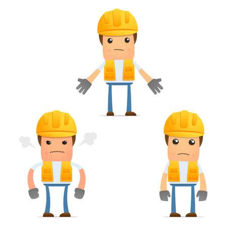 ingenieurs: set van grappige cartoon bouwer