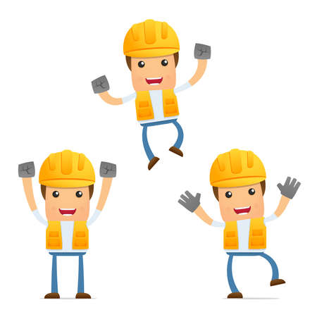 set of funny cartoon builder Stock Vector - 9847925