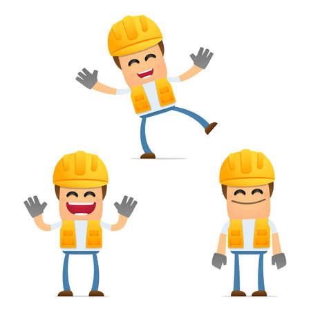 repairman: set of funny cartoon builder Illustration