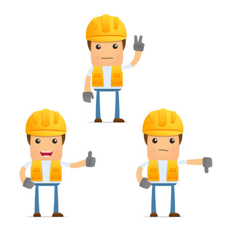 industry worker: set of funny cartoon builder Illustration
