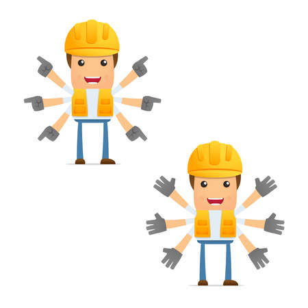 set of funny cartoon builder Stock Vector - 9847913