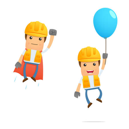 manual workers: set of funny cartoon builder Illustration