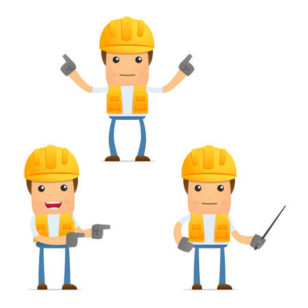 set of funny cartoon builder Vetores