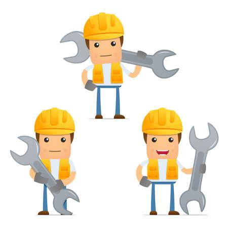 computer repair technician: set of funny cartoon builder Illustration