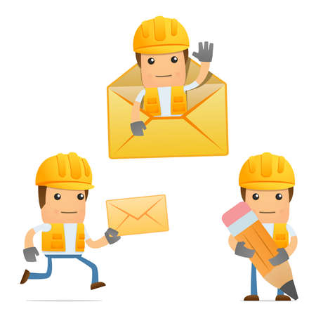 foreman: set of funny cartoon builder Illustration