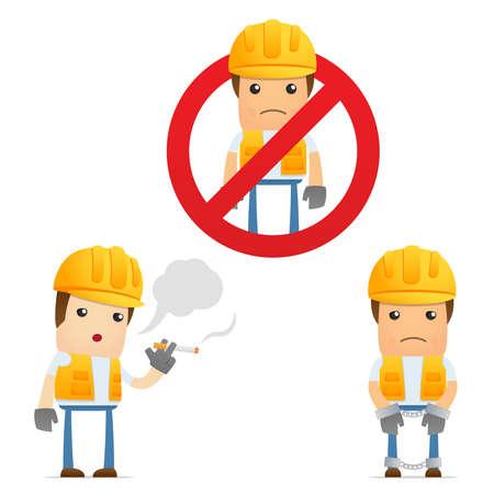 steel workers: set of funny cartoon builder Illustration