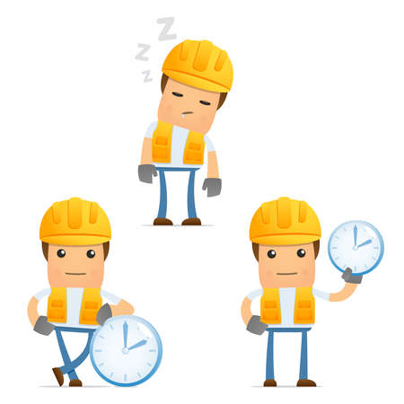 builders: set of funny cartoon builder Illustration