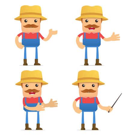 set of funny cartoon farmer Stock Vector - 9933991