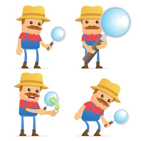 villager: set of funny cartoon farmer