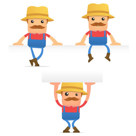 set of funny cartoon farmer Stock Vector - 9933973