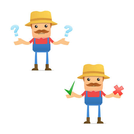 set of funny cartoon farmer Stock Vector - 9933970