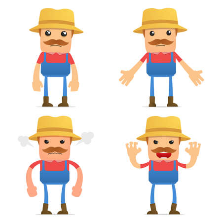 set of funny cartoon farmer Vector