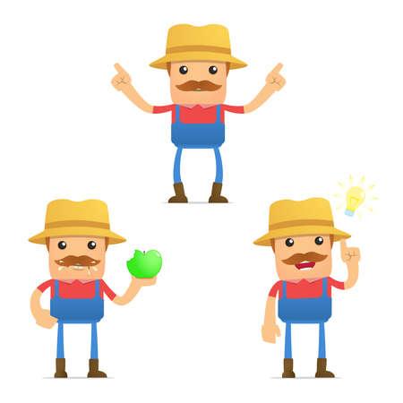 set of funny cartoon farmer Stock Vector - 9934017