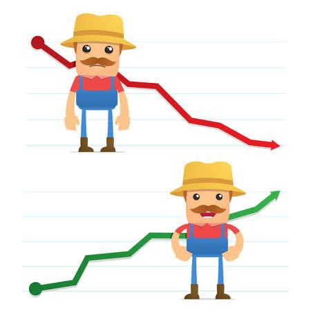 village man: set of funny cartoon farmer