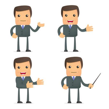 teaching adult: funny cartoon businessman giving presentation