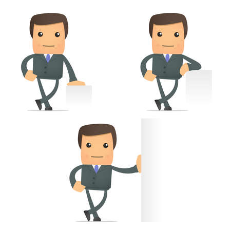 cartoon businessman leaning on an empty block Stock Vector - 10144496