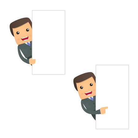 funny businessman looks out over an empty field Vector
