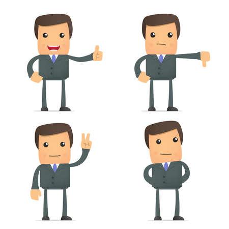 kiválóság: vicces rajzfilm üzletember hold hüvelykujját felfelé és lefelé