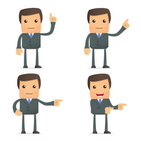 caricatura: divertido empresario muestra su dedo al lado
