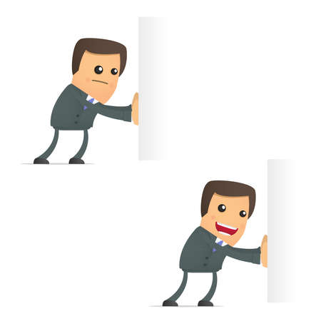 caricatura: empresario de caricatura divertida empuja un bloque vacío