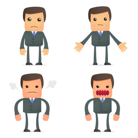 stressed businessman: funny cartoon businessman angry and frustrated