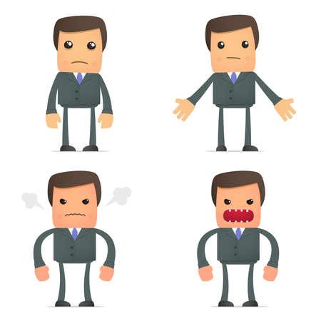 mann bad: Funny Cartoon Gesch�ftsmann ver�rgert und frustriert Illustration