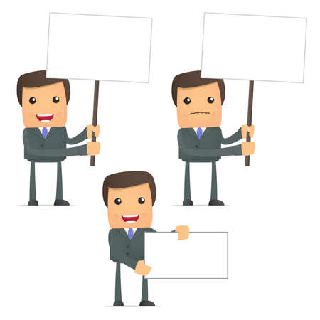 funny cartoon businessman holds a banner Vector