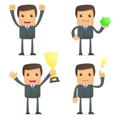 funny cartoon businessman celebrates victory Stock Vector - 10144504