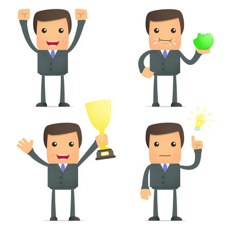 winning idea: funny cartoon businessman celebrates victory Illustration